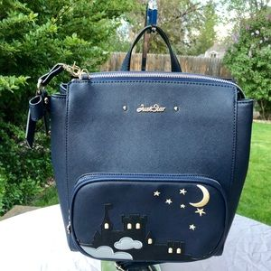 Just Star Navy Blue Faux Leather Backpack